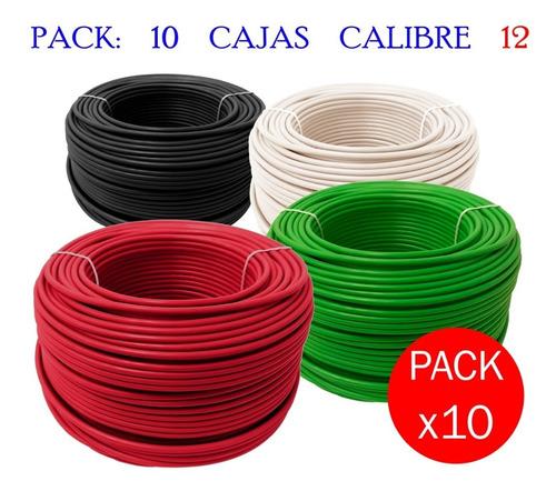 paquete con 10 cajas calibre 12 thw alucobre 100m varios colores somos fabricantes