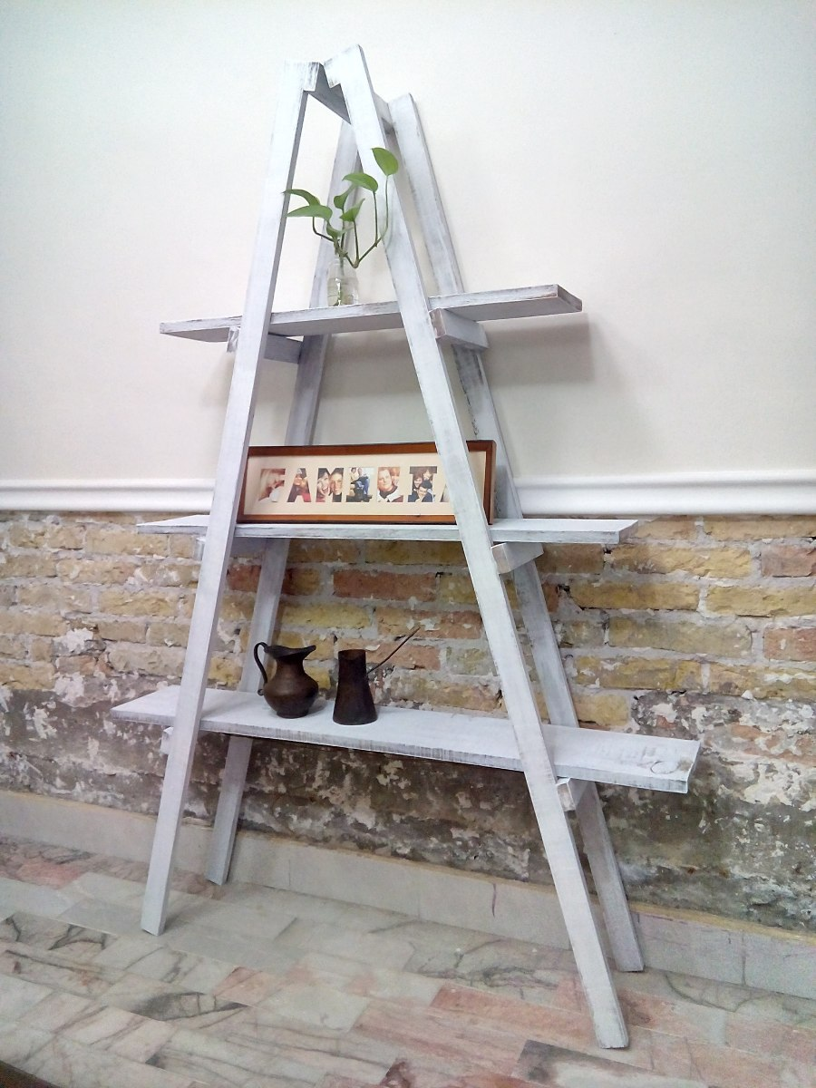 Paquete con 3 escaleras decorativas vintage 100 madera - Escaleras de madera adorno ...