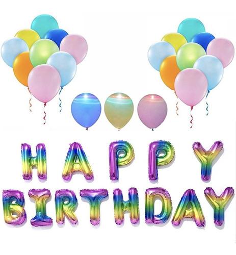 paquete cumpleaños 12 globos luz led + letras happy birthday
