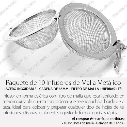 paquete de 10 infusor para té de bola con malla / mayoreo
