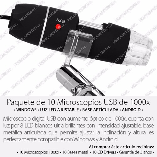 paquete de 10 microscopio digitale usb 1000x zoom mayoreo
