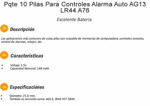 paquete de 10 pilas control alarma auto ag13 lr44 a76