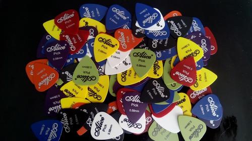 paquete de 100 puas para guitarra o bajo alice picks 0.58 mm