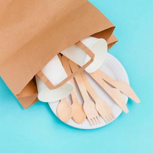 paquete de 100 tenedores de madera desechables