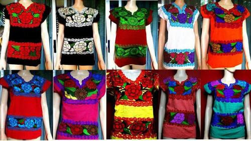 paquete de 12 blusas zinacantan 2 bordados/ envio gratis !!