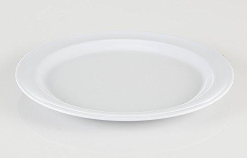 paquete de 12 set - melamina - estrecho lamer plato, blanco