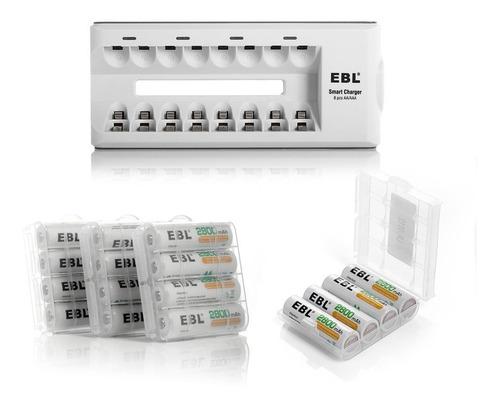paquete de 16 pilas recargables aa 2800mah y cargador p/ 8