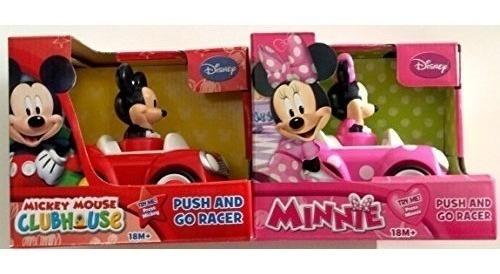 paquete de 2 autos disney mickey mouse y minnie mouse pus