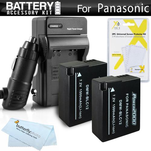 paquete de 2 baterías y cargador para panasonic lumix dmc-fz