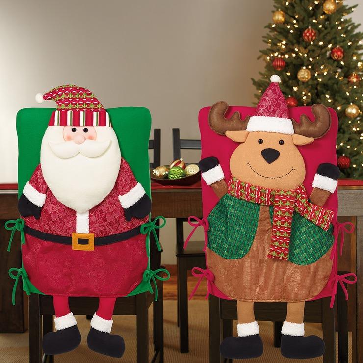 Paquete de 2 fundas para silla navide as adornos de - Adornos navidenos para sillas ...