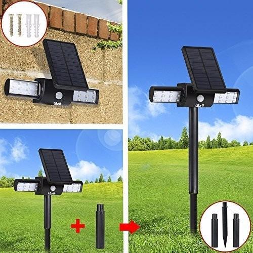 Paquete de 2 luces led solares para jardin lbell - Luces led para jardin ...