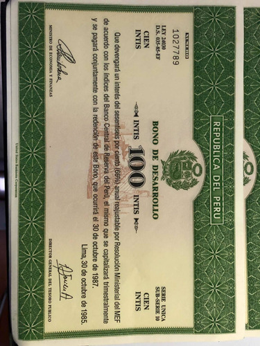 paquete de 24 bonos de desarrollo de 100 intis