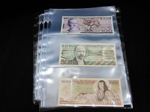paquete de 25 micas para 3 billetes.  marca b c w
