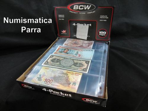 paquete de 25 micas para 4 billetes.  marca b c w