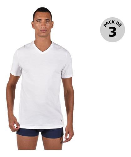 paquete de 3 camisetas tommy hombre 09tvn01-100 blanco