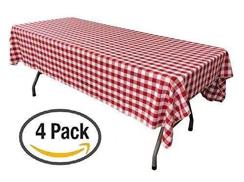 paquete de 4 manteles a cuadros rojos y blancos de plástico