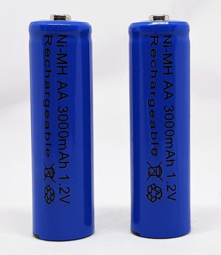 paquete de 4 pilas aa  recargables nimh 3000mha + cargador