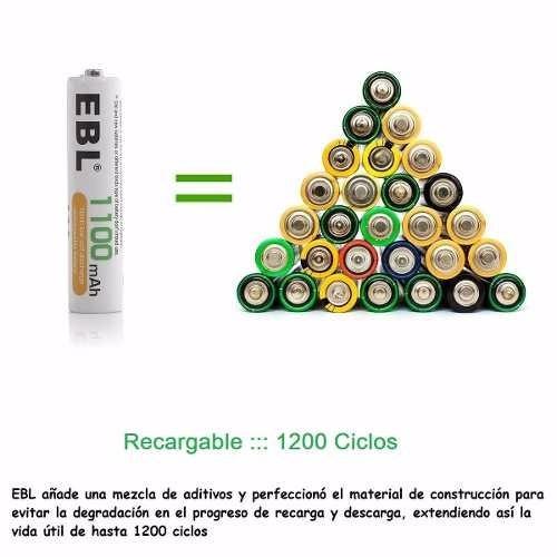 paquete de 4 pilas baterias aaa recargables ebl - 1100mah