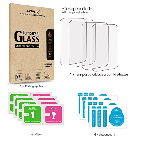 paquete de 4 protector de visualizacion de vidrio templado p