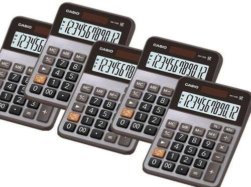 paquete de 5 calculadoras de escritorio casio mx120b