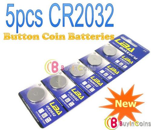 paquete de 5 pilas bateria cr2032,cr-2032 litio