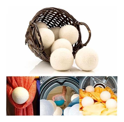 paquete de 6 bolas de secador de lana natural para lavadora