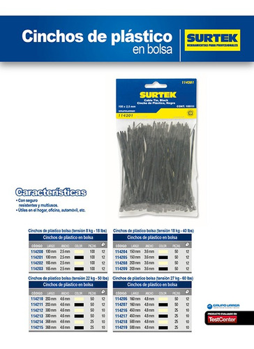 paquete de 6 cincho plástico 203 x 4.6mm 50 pz negro, 114211