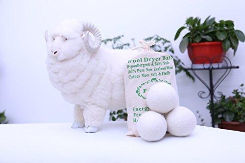paquete de 6 de lana bolas secadora organica xl reutilizable