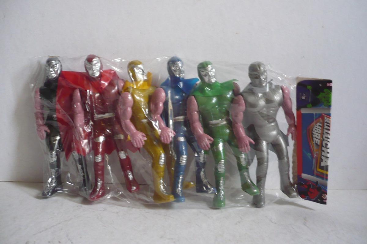 Paquete de 6 luchadores plastico inflado mu eco de for Juguetes de plastico
