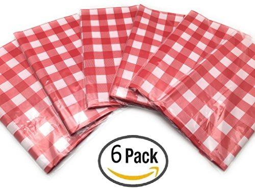 paquete de 6 manteles a cuadros rojos y blancos de plástico