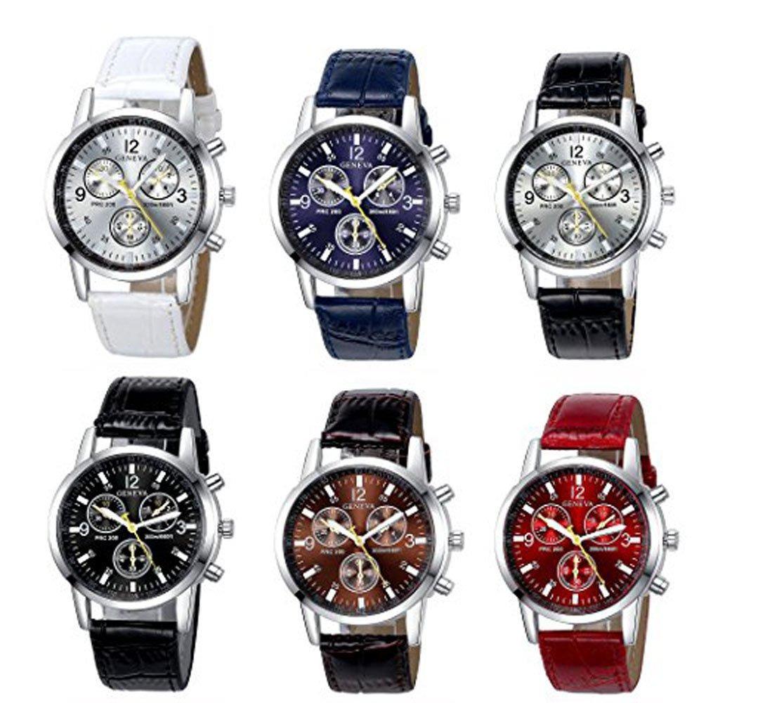9cc163db3942 Paquete De 6 Para Hombre Reloj De Cuarzo De Piel Geneva Boys -   127.302 en  Mercado Libre