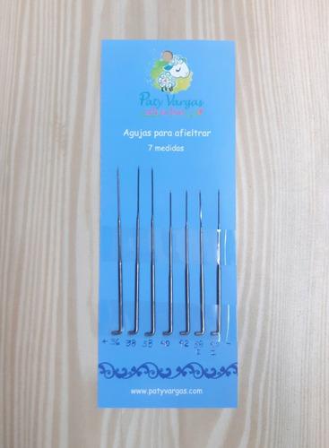 paquete de 7 agujas diferentes medidas para felting