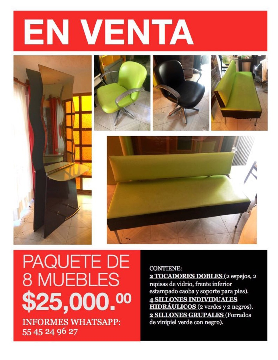 Paquete De 8 Muebles Usados Para Salón. (estética) - $ 25,000.00 en ...
