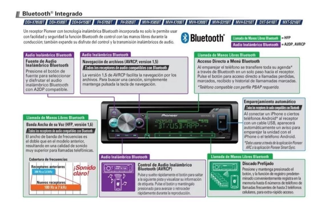 Paquete De Autoestereo Pioneer Y Bocinas Bluethoot Dxt-4162b