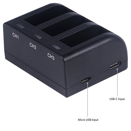 paquete de batería recargable smatree 2 con cargador de 3 ca
