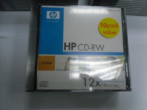 paquete de cd rw marca hp c/slim