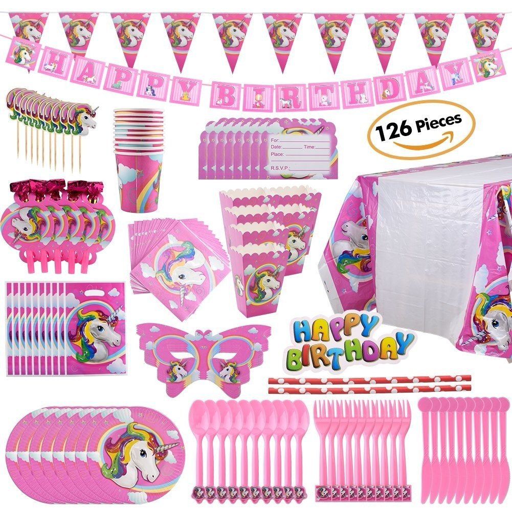 Paquete de decoraci n para fiesta tema unicornio 126 for Decoracion para pared unicornio