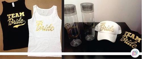 paquete de despedida team bride.. blusa, gorra y cilindro