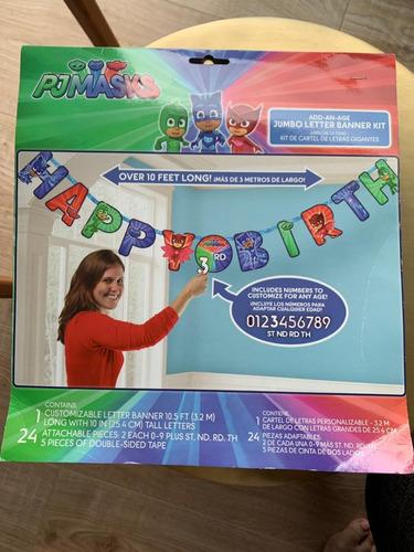 paquete de fiesta pj masks vela, letrero happy birthday