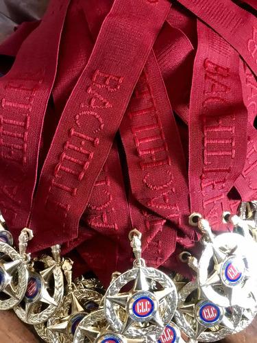 paquete de graduación bachiller, medalla 5 puntas + diploma