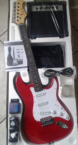 paquete de guitarra electrica y amplificador 15w con regalos
