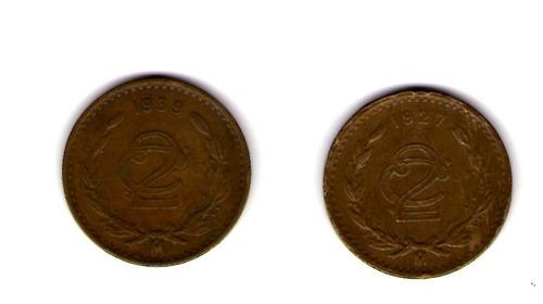 paquete de monedas mexicanas de 2 centavos 1927 1939