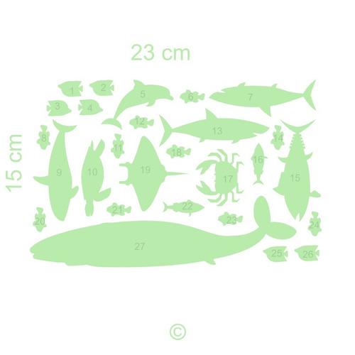 paquete de peces imagina y conoce fluorescentes