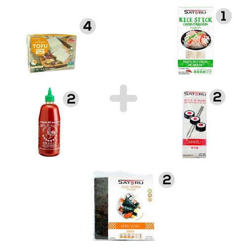 paquete de productos orientales con tofu incluido