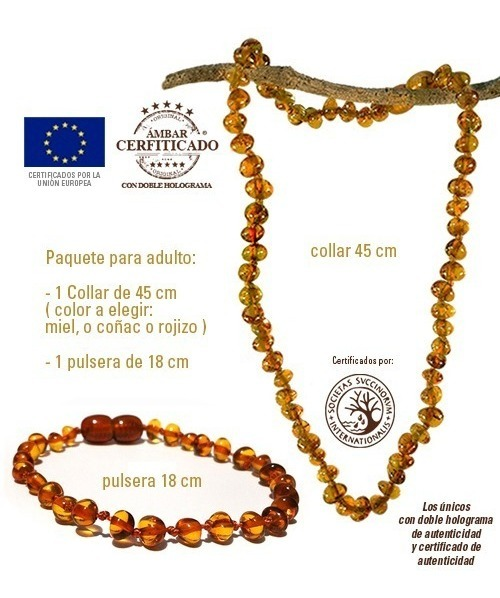 286ce8b03816 Paquete De Pulsera 18cm Y Collar 45cm Ámbar Báltico