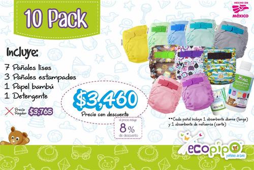 paquete ecopipo 10 pañales + detergente + papel bambú