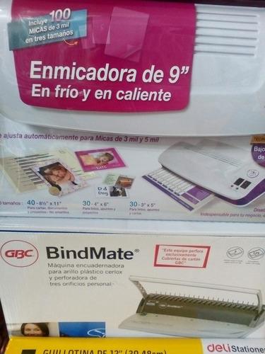 paquete enmicadora 100 micas guillotina engargoladora