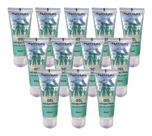 paquete gel antibacterial 70% alcohol 12 tubos