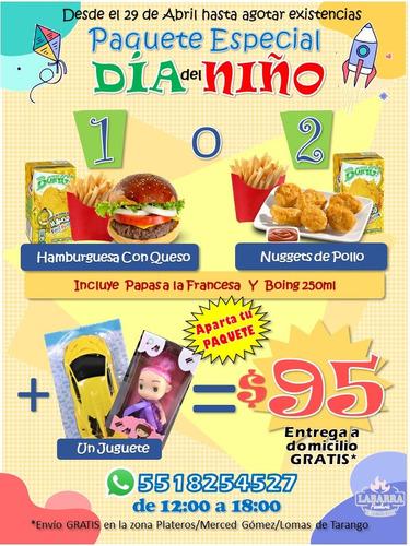 paquete infantil hamburguesa nuggets pollo papas juguete