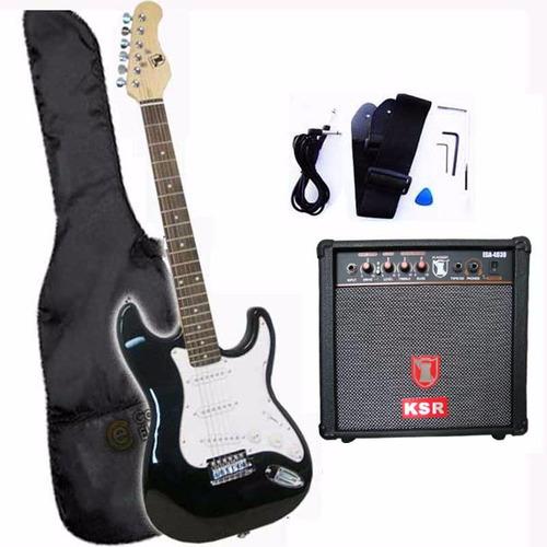 paquete kit guitarra electrica amplificador 250w accesorios